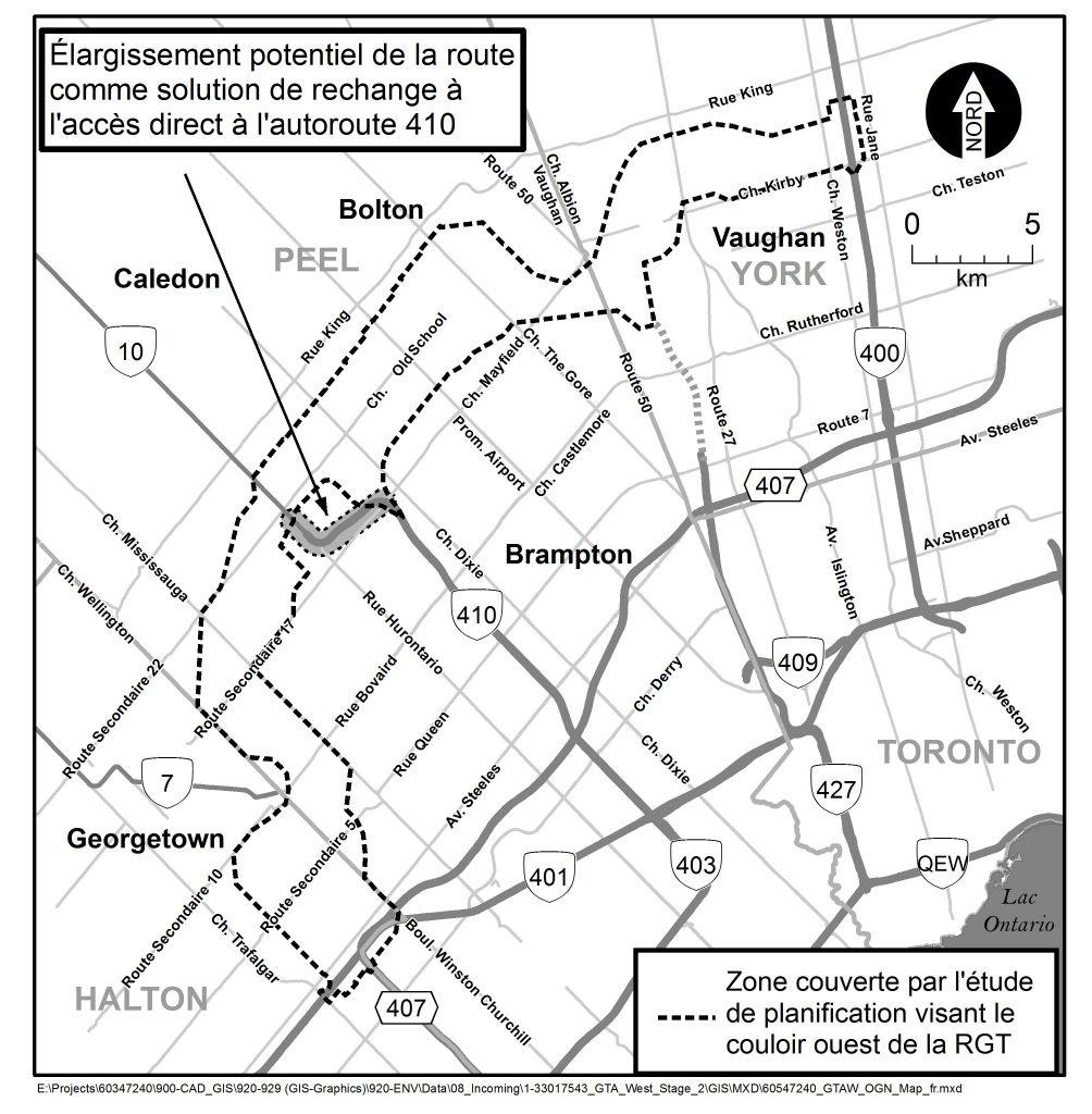 zone couverte par l'etude de planification visant le couloir ouest de la RGT